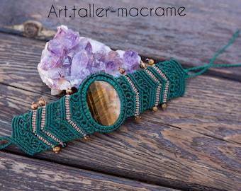 Macrame bracelet, handmade, tiger eye stone, artisanal, ethnic, boho chic, gipsy