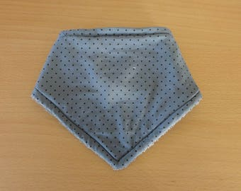 Gray cotton with black dots bandana bib