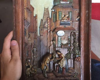 Wood Wood relief Carl Spitzweg, the perpetual suitor, hand painted