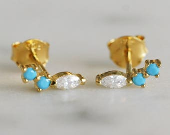 Turquoise cluster studs