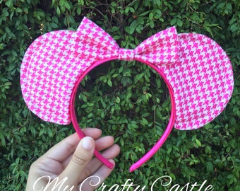 Pink Houndstooth Pattern Mouse Ears Headband with Bow