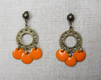 Bronze Stud Earrings (pierced) Orange star