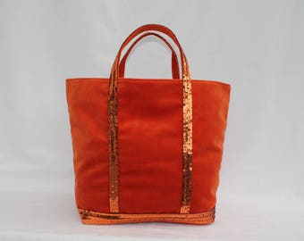 New! The tote bag orange bright velvet has round sequins