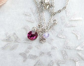round Crystal pendant Pink swarovski on 925 silver plated chain, Crystal bicone bead