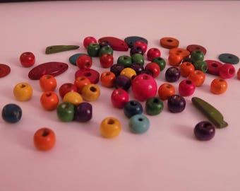 Set of 46 beads wood sizes