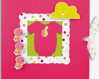 3D birth announcement + envelope, pattern pink baby girl.