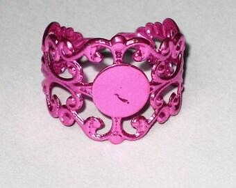 a support ring filigree pink adjustable 2cm