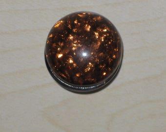 Press glass leaf metallic Brown, 18mm chunk jewelry