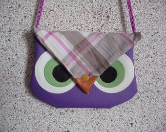 Handmade faux leather OWL kids bag or pouch.