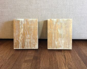 Original Abstract Paintings, 8 x 10, Gold and White, Home Decor, Interior Design