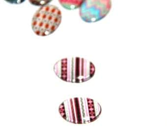 The cabochon oval 18x13mm 1 ethnic illustration black and Red