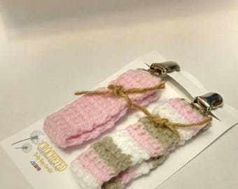 2ct crochet pacifier clips baby girl baby shower gift