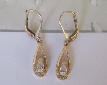 gold plated earrings and zirconium
