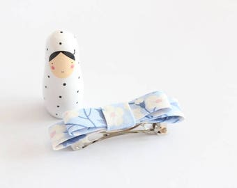 Liberty Mitsi valeria forget-me-not blue fabric bow Barrette