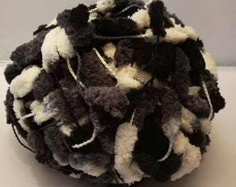 Pompon wool Big ball funny, F 104, black and white grey, 200 g, Schoeller + steel, 100% polyester (microfibre)