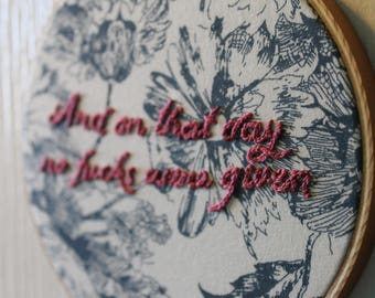 No F*cks Given Embroidery Hoop Art