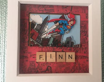 Super hero 'Superman' 3d decoupage personalised boys/mens/girls bedroom/office/playroom hanging scrabble letter picture