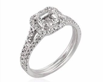 Asscher Cut Engagement Ring, 14K - 18K Gold + Diamond