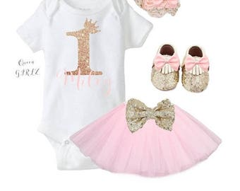 SALE One year old girl birthday outfit, first birthday girl outfit, Tutu outfit, pink and gold birthday outfit, baby girl 1st