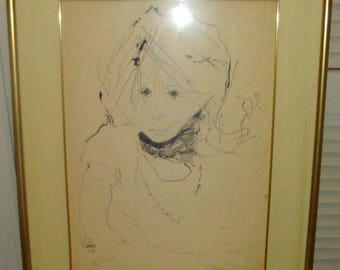 Original Signed Pen and Ink By GINO F. HOLLANDER 14x19 1/2