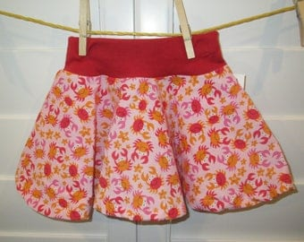 Pink Skirt with Crabs Baby Skirt, Comfortable Circle Skirt, Size 18 months