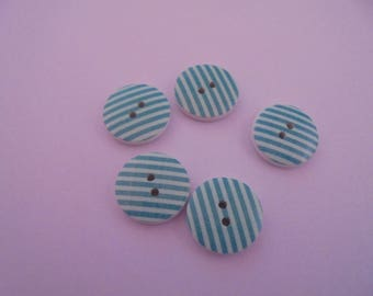 Set of 5 round turquoise 18 mm wooden buttons