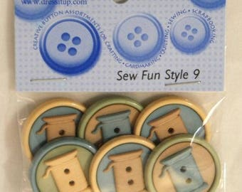 6 fancy buttons - spools