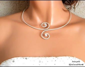 Necklace ivory rhinestone Pearl foil bride wedding