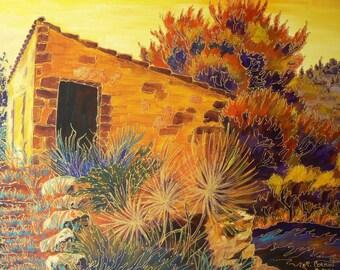 "painting ""wine shed near Portel 46 x 55 - framed 57 x 67"