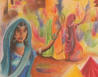 Painting naive Holi, the feast of color in India