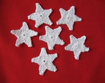 Star six white cotton crochet