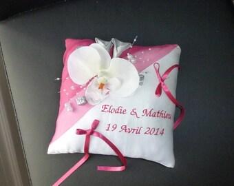 fuchsia Orchid wedding ring cushion