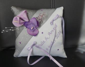 Purple and grey wedding ring cushion