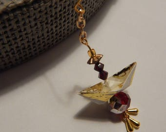Pair of earrings gold paper boat origami and beads