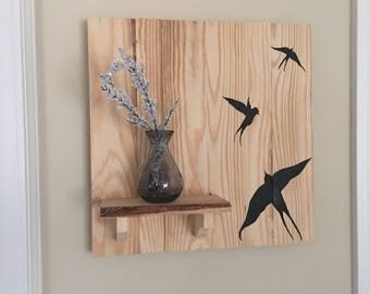Rustic wooden swallow wall art