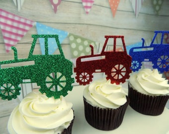Tractor themed Cupcake Birthday, Celebration Toppers