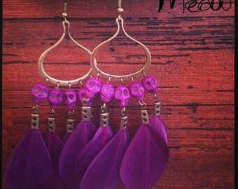 """Purple Calavera"" inspired Bohemian earring"
