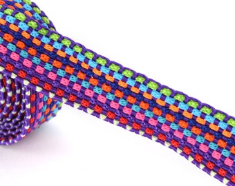 Purple multicolored braided Ribbon 20 cm