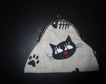 shabby chic tone linen purse kitten