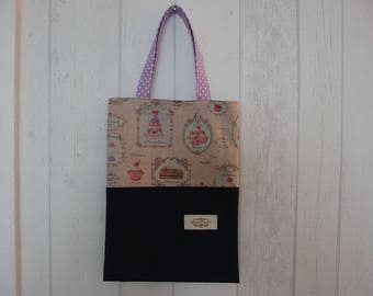 Mini tote bag in linen and cotton pastries, pink and dark blue