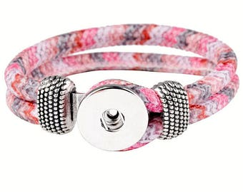 Bracelet / Eco leather Doublebeads Support. for 1 snap (M) - pink