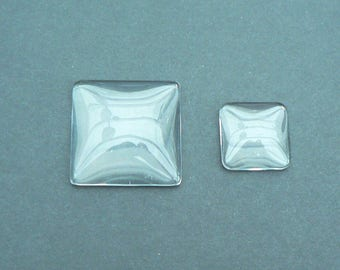 Set of 50 collage - 16mm - 1/2 square back round Cabochons/blocks - 2 X magnifying