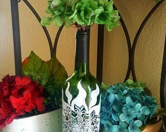 "Decorative wine bottle ""henna sun"" hand painted. One of a kind."