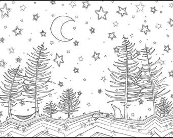 Printable Coloring Page | Forest