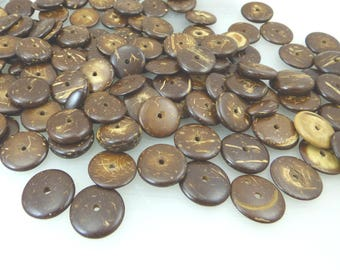 natural coconut wood rondelle beads