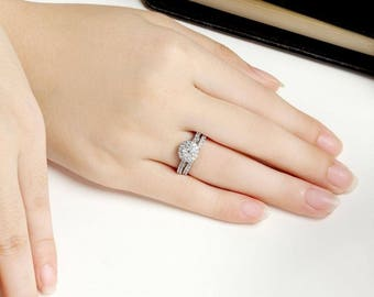 Chic 925 Sterling Silver CZ Wedding Engagement Rings Set Women's Size 4-11 Ss1939