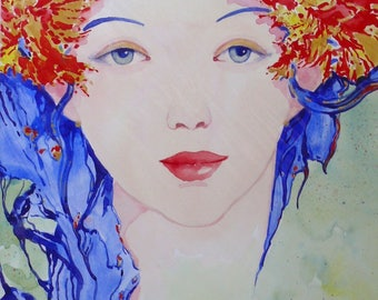 """original watercolor painting """"Face to the hair Blues"""" by Martin deMEZERAC"""