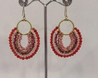 Semi-precious stones, Christmas gift red earrings
