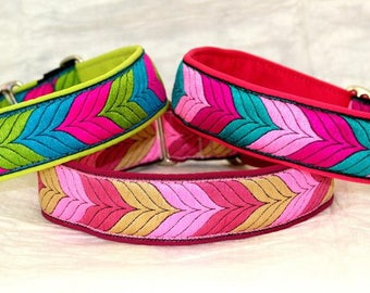 "Dog Collar Jacquard Ribbon Elegant ""Autumn in colours""  Design"