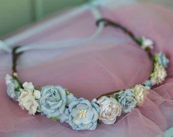 White flower crown , blue Floral crown, blue floral headpiece,  baby shower floral crown, baby shower crown, something blue, baby shower